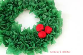 Kids Christmas Tissue Paper Wreath With Pom Embellishments