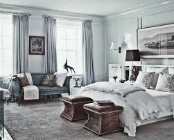 Bedroom White Wall With Grey Curtains And Lamp Combined By Bed