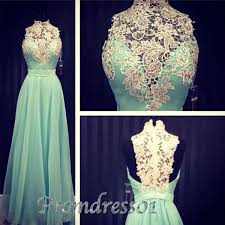elegant high neck a line turquoise chiffon prom dress with lace