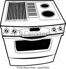 Stove Line Art Illustration Isolated On A White Background