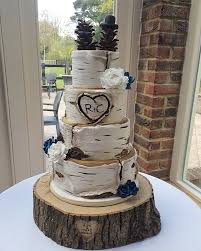 A Rustic Birch Log Wedding Cake 4 Tiers Featured Including Sugar Flowers And Handmade Pine