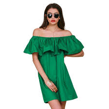 ruffles slash neck women dress summer style off shoulder