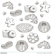 Hand drawn sketch confections dessert pastry