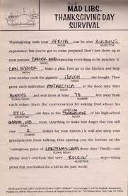 Halloween Mad Libs For 3rd Grade by Mad Libs Thanksgiving Printable Google Search Thanksgiving