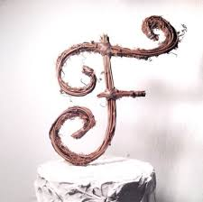 Letter F Rustic Grapevine Wedding Cake Topper 2337233