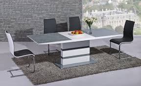 100 White Gloss Extending Dining Table And Chairs Arctic Grey And High And 6 Curvo