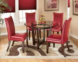 5 Piece Round Dining Table Set With Red Chairs By Signature ...