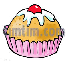 A color cartoon drawing of a cupcake or pastry cake with icing and a cherry on top