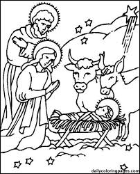 Christmas Story Nativity Scene Coloring Page