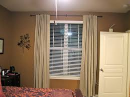 Beige Bedroom Curtains With Blind In Brown Wall Decor