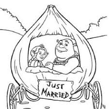 Shrek And Princess Fiona In Onion Carriage They Were Just Married Coloring Page
