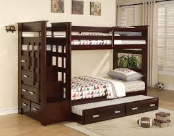 youth furniture over twin bunk bed ladder trundle espresso acme