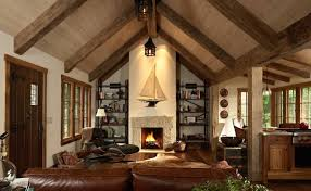 Cool Rustic Living Room With Cathedral Ceiling And Iconic ...