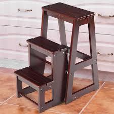 Costway: Costway Wood Step Stool Folding 3 Tier Ladder Chair Bench Seat  Utility Multi-functional | Rakuten.com
