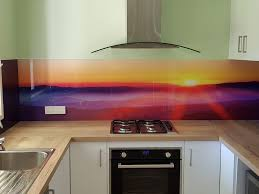 Sunset On A Foggy Mountain Digital Printed Glass Splashback By Graphic Services Qld
