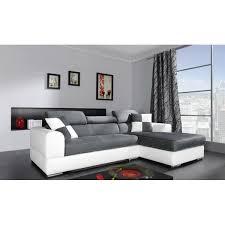 discount canape d angle canapé d angle 4 places néto madrid gris et blanc pas cher