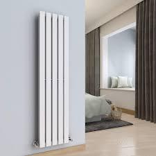 WarmeHaus Vertical Designer Radiator Flat Panel Modern Heating Double White 1600x372mm Modern Central Heating Space Saving Radiators Perfect For