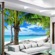 Wallpaper 3D Mural Coconut Palm Tree Beach Sea View Wall Paper Background Decor
