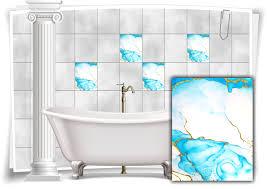 fliesen aufkleber folie marmor öl ölfarben abstrakt bad gold türkis wc deko küche