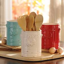 White Vintage Rooster Utensil Holder Red Turquoise DecorTurquoise Kitchen