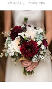 Millers Christmas Tree Farm by Early Fall Bridal Bouquet Blush Maroon Grey Garden Roses