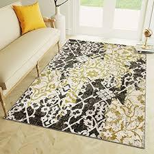 Amazon 8 X 10 Area Rug Yellow Gray Tribal Ikat Rug For Living
