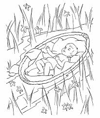 Baby Moses Being Scared In Water Coloring Page