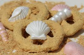 Seashore Sandy Beach Mermaid Cookies Chocolate Pretzels With White Seashells TheIcedSugarCookie