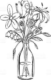 Sketch of a bouquet of flowers in a water filled vase royalty free sketch