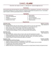 Data Entry Clerk Resume Sample Format Acting Template Templates