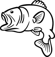 Bass Fish Jumping Coloring Page Clipart