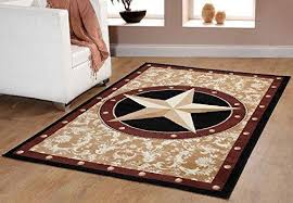 Picture Of Texas Western Star Rustic Cowboy Decor Gold Area Rug 626