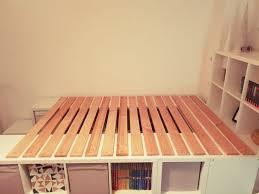 a loft bed from ikea kallax shelves bed