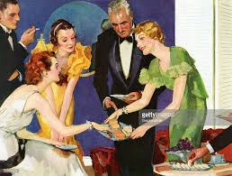 Vintage Illustration Of A Hostess Serving Cheese And Crackers To Her Guests At Cocktail Party