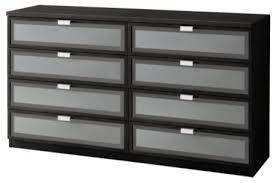 hopen 8 drawer dresser black brown frosted glass scandinavian
