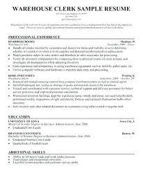 Stock Clerk Resume Of Free Sample
