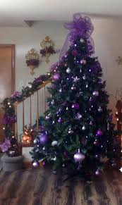 Purple Tree Ornaments For Christmas And Gold Decorated