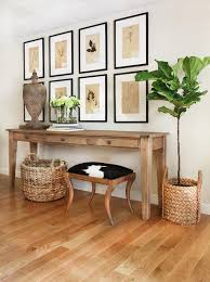 Farmhouse Console Table Under Botanical Art Gallery