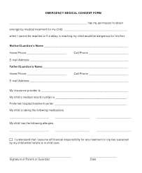 Child Medical Consent Form Example Parental Template South Africa