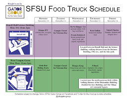 Food Truck Schedule Nov 10 – Nov 14 | SFSU Gator Group Truck Schedule Mcconkey Grower Supplies Orlando Food Cnections Maintenance Excel Template Vehicle Car Tips Fleet Spreadsheet Awesome For June And July 18 Branch Bone Artisan Ales Bandit Truck Racing Series Announces 14race 2018 Slate Your Guide Uerstanding Tangible Assets Depreciation Formula Mccs Cherry Point C Expenses Worksheet Best Of Irs Itemized Dirty South Deli As Well