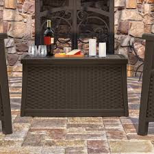 Suncast Patio Storage And Prep by Suncast Elements Resin Patio Storage Coffee Table Java Walmart Com