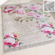 waschbarer teppich rosa antibakteriell shabby chic landhaus m2130