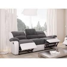 canapé simili cuir gris canapé relaxation 3 places microfibre grise simili cuir blanc