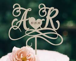 Wedding Cake Topper Initials Personalized Wood Monogram