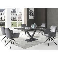 esszimmerstuhl hwc g67 küchenstuhl stuhl mit armlehne drehbar auto position samt dunkelgrau