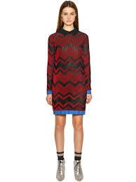 m missoni cotton blend rib knit dress red black rfk30 women