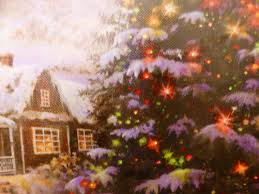 Fibre Optic Christmas Trees Uk by Christmas Picture Festive Snowy House Scene Fibre Optic Canvas