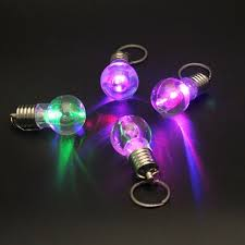 mini color changing led flashlight light bulb l key ring
