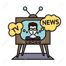 Television News Poster With Anchorman Journalist Reporter In Tv Vector Illustration Stock