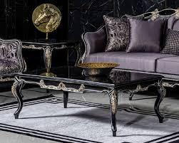 casa padrino luxus barock couchtisch schwarz gold handgefertigter massivholz wohnzimmertisch barockstil wohnzimmer möbel
